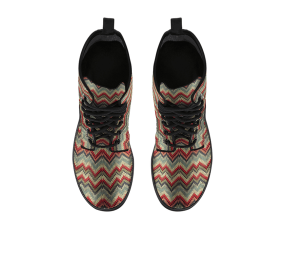 Handcrafted Chevron Zigzag Knit Print Boots