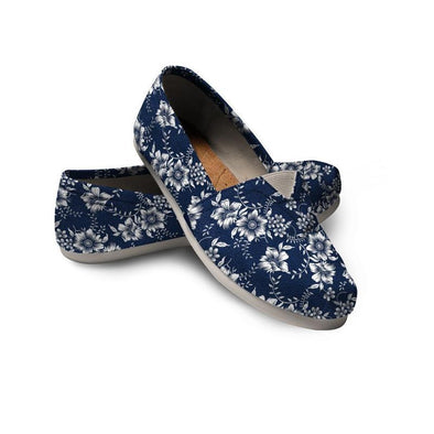 Clearance Blue Flowers Casual Shoe