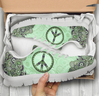 Limited Time 60% Green Paisley Mandala Peace Handcrafted Sneakers