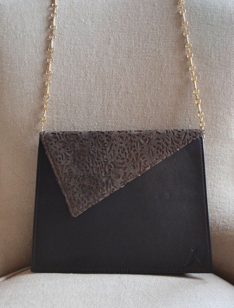 Luxury Clutch Brown Italian Leather Handmade in Los Angeles | ALICIA DAKTERIS