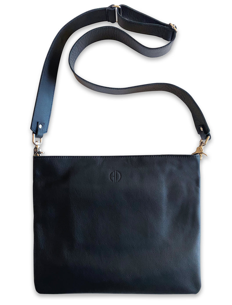 Alodie Crossbody Bag in Black Italian leather | ALICIA DAKTERIS