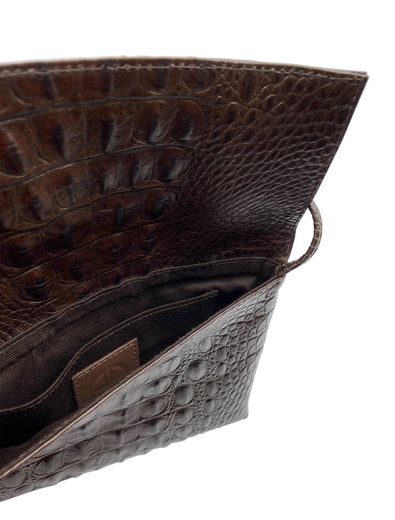 Small Crossbody Brown Croco Italian Leather Bag | ALICIA DAKTERIS