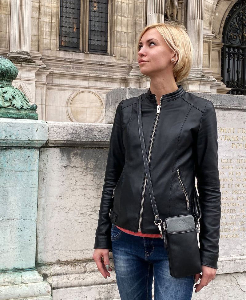 The PASSPORT Crossbody Black/Grey Italian Leather Bag Made In Los Angeles | ALICIA DAKTERIS