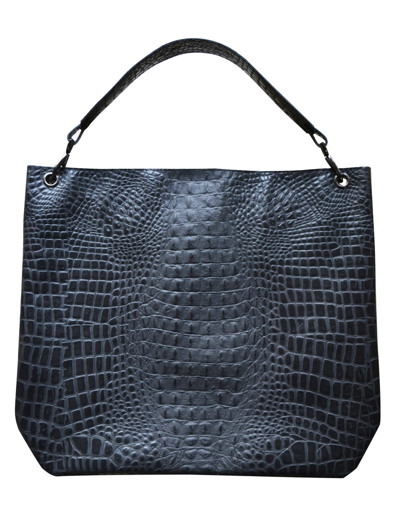 The Sack Italian Black Croco Embossed Leather Perfect Business Travel Bag | ALICIA DAKTERIS