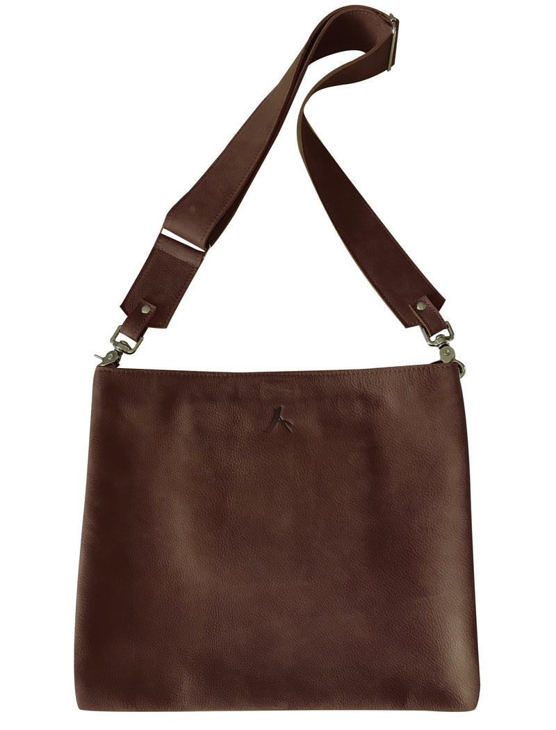 Alodie Crossbody Bag in Brown leather | ALICIA DAKTERIS