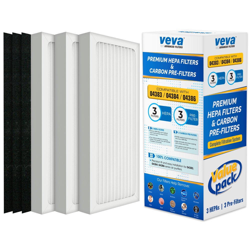 HEPA VEVA VEVA Premium Filter 6 Pack Including 3 HEPA Style Filters and 3 Full-size Activated Carbon Pre-Filters Compatible with HB Air Purifier 04383, 04384 and 04386, 100% Safe and Zeolite Free