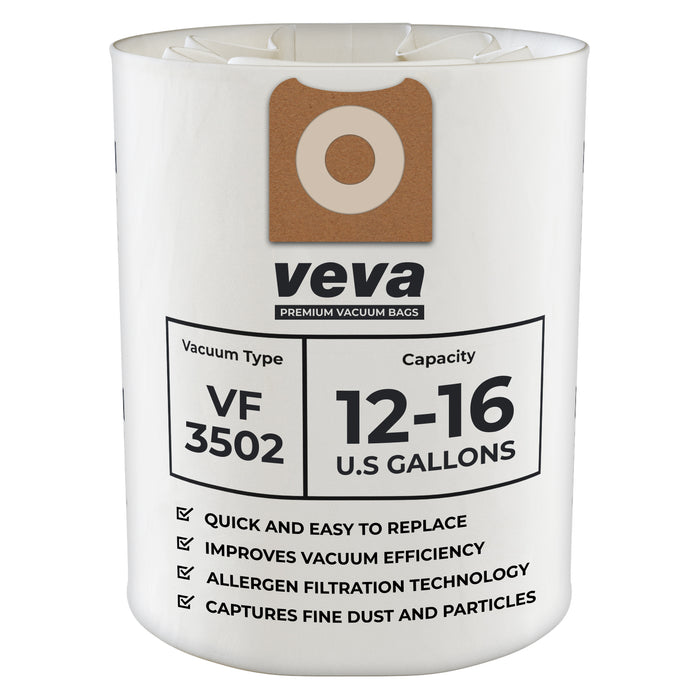 Vacuum Bags VEVA VEVA 10 Pack Premium SuperVac Vacuum Bags VF3502 Compatible with 12-16 Gallon Ridgid Wet / Dry Vacuums