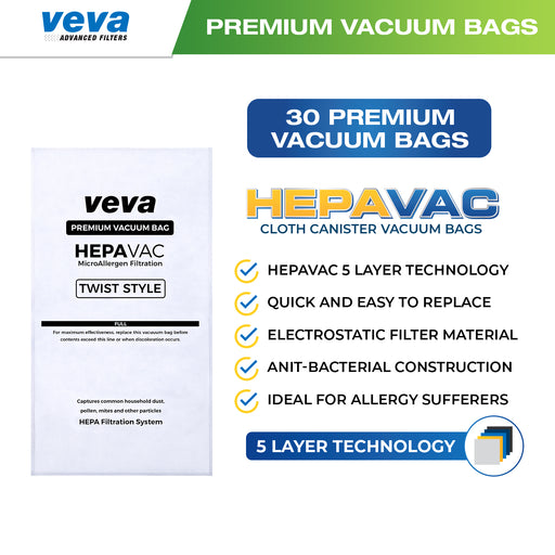 Vacuum Bags VEVA 30 Pack Premium HEPA Vacuum Bags Style G Cloth Bag for Kirby Twist Micron Magic Type G/Ultimate G & Diamond Edition; G3/G4/G5/G6/G7/Gsix Cleaners