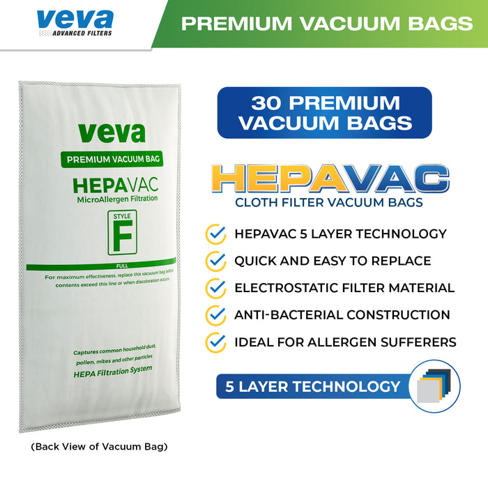 Vacuum Bags VEVA 30 Pack HEPA Vacuum Bags Style F Cloth for Kirby Type F/Q/204808/204811 Avalir/Sentria/G10D/Ultimate G/Diamond & Limited/G3/G4/G5/G6/G7 Cleaners