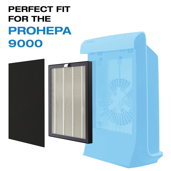 HEPA VEVA VEVA Premium HEPA Replacement Filter 1 Pack Including 2 Carbon Pre Filters Compatible with VEVA ProHEPA 9000 Air Purifier