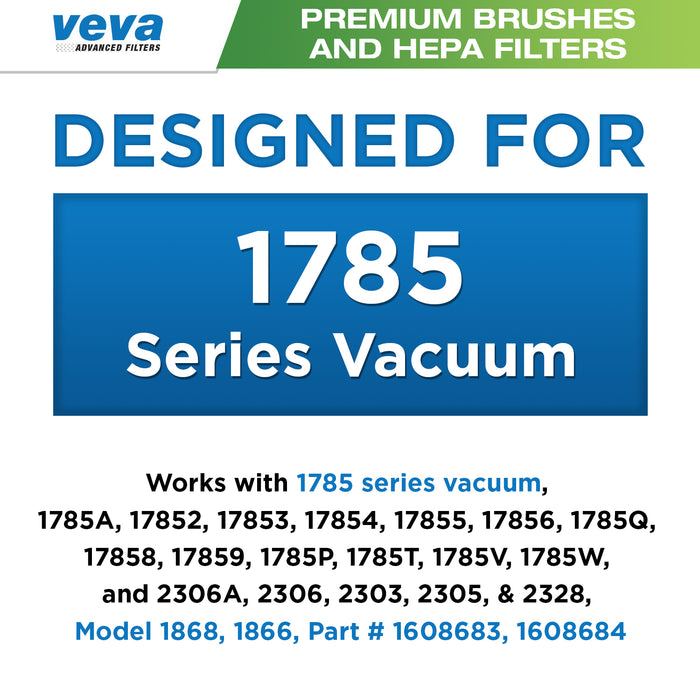 Vacuum Accessories VEVA VEVA Premium Vacuum Set with 6 Pieces Total of 3 Multi-Surface Brush Rolls Model 1868 and 3 HEPA Filters Model 1866 Work with Bissell Crosswave 1785 Series Vacuums, Part # 1608683, 1608684