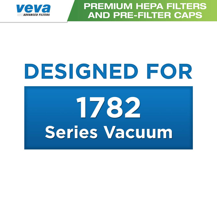 Vacuum Filters VEVA Premium Vacuum Filter Set with 12 Pieces Total of 6 HEPA Filters & 6 Covers for Bissell 1782 Pet Hair Eraser Cordless Hand Vac, Part 1608653/1608654