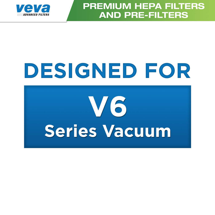 Vacuum Filters VEVA VEVA 6 Pack Premium Vacuum Filter Set with 3 Pre Filters and 3 HEPA Filters Compatible with Dyson V6 Absolute Vacuums, Part # 965661 & 966741