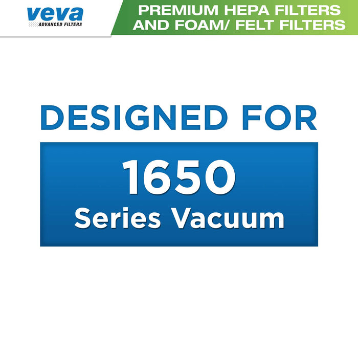 Vacuum Filters VEVA VEVA Premium Vacuum Filter Set with 18 Pieces Total of 6 HEPA, 6 Foam, 6 Felt Filters for Bissell Pet Hair Eraser Upright 1650 Series & Part # 16871