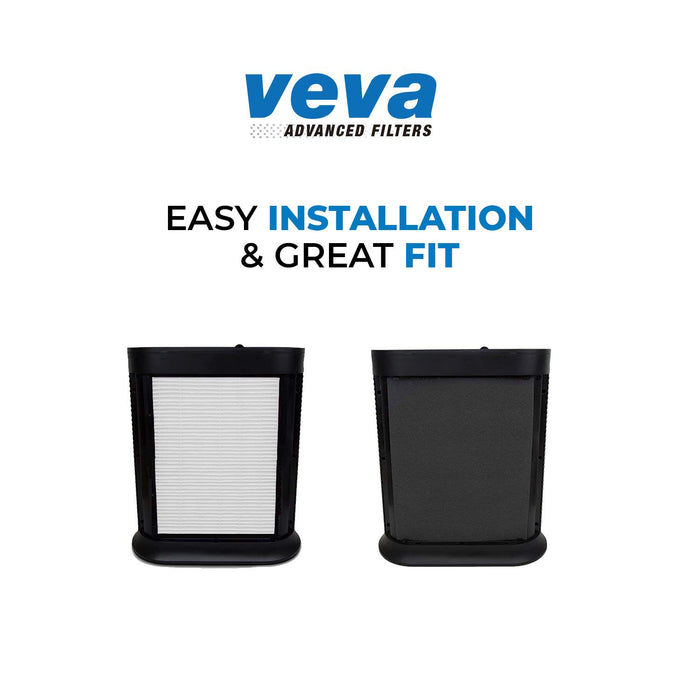 HEPA VEVA 2 HEPA Filter Pack with 8 Activated Carbon Pre Filters Precut for HPA100 HW Air Purifier 090, 094, 100, 104, 105, HA106, Filter R