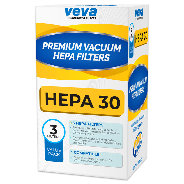 Vacuum Filters VEVA VEVA 3 Pack Premium Vacuum HEPA Filter Set Model SF-HA 30 Compatible with Miele S7 and U1 Series Vacuum Cleaners