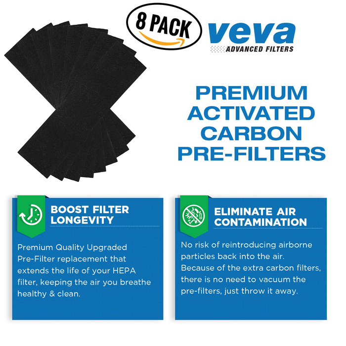HEPA VEVA Premium 2 True HEPA Filter with 8 Activated Carbon Pre Filters for Fellowes AeraMax Air Purifier 90, 100, 90/100, DX5 & DB5 9287001 9324001