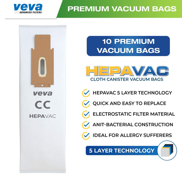 Vacuum Bags VEVA VEVA 30 Pack Premium HEPA Vacuum Bags Style CC Cloth Bag Compatible with Oreck Type CC Hypo-Allergenic Model XL5, XL7, XL21, 2000, 3000, 4000, 7000, 8000, 9000