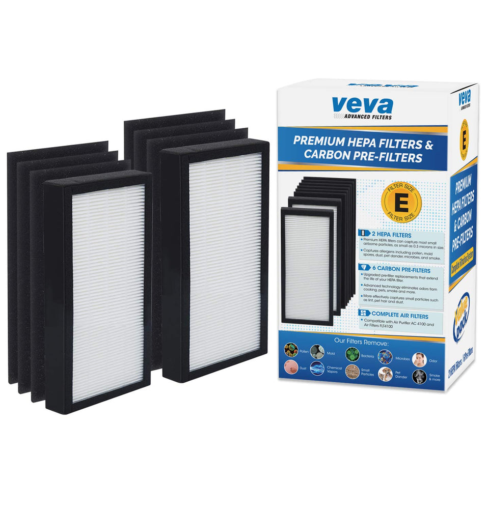 HEPA VEVA VEVA Premium 2 HEPA Filters and 6 Pack of Pre-Filters Compatible with Air Purifier Models AC4100 and Replacement FLT4100 Filter E
