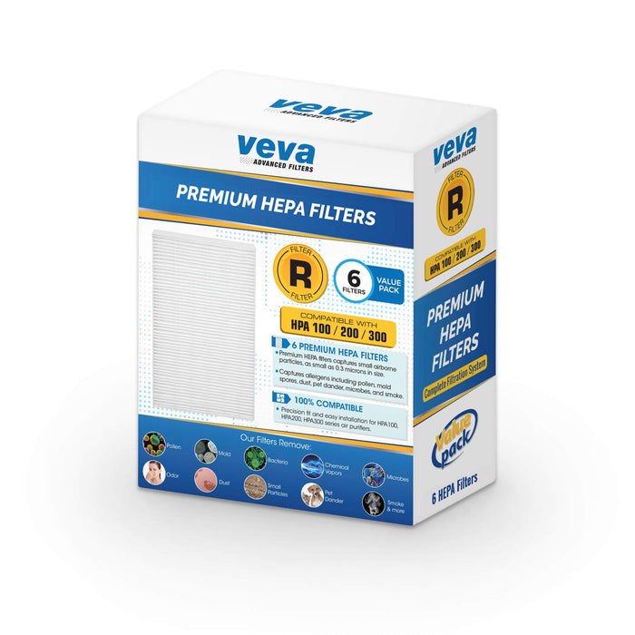 HEPA VEVA VEVA Complete 6 Premium HEPA Type R Replacement Filter Pack HRF-R3 HRF-R2 HRF-R1 for HW Air Purifier HPA090, HPA100, HPA200, HPA250 & HPA300