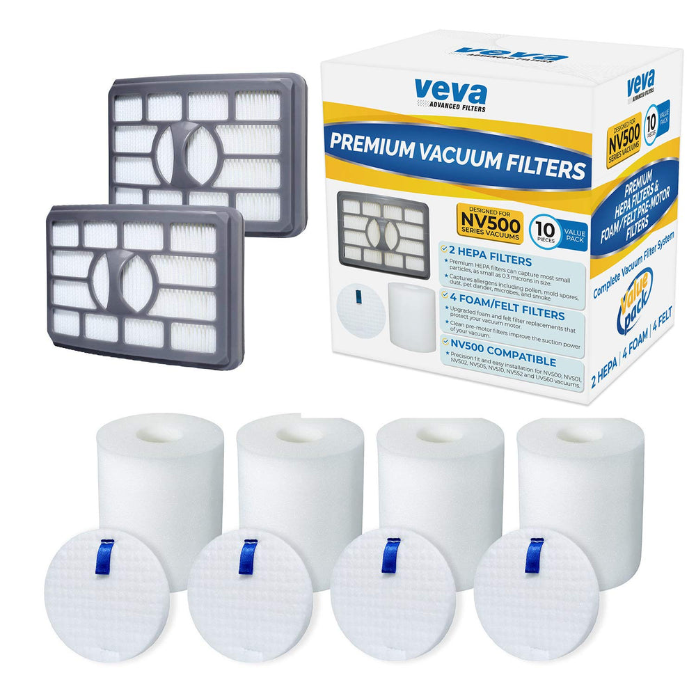 Vacuum Filters VEVA VEVA Vacuum Filter Set with 2 HEPA, 4 Foam, 4 Felt for Shark Rotator Lift-Away Model NV500, 501, 502, 505, 552 and UV560