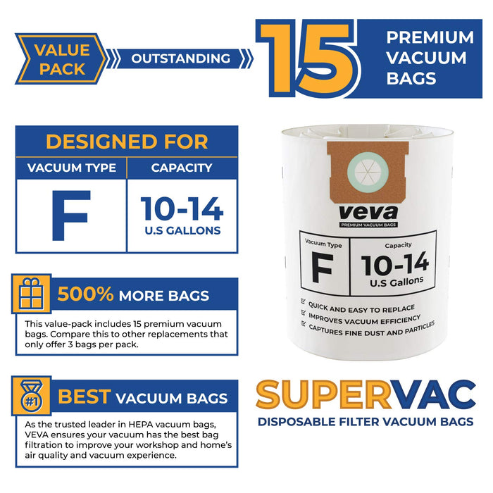 Vacuum Bags VEVA VEVA 15 Pack Premium Vacuum Filter Bags Type F 9066200 Compatible with Shop Vac 10-14 Gallon Vacuum, Part # SV 90662