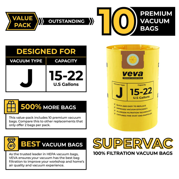 Vacuum Bags VEVA VEVA 10 Pack Premium Vacuum Filter Bags Type J 9067300 Compatible with Shop Vac 15-22 Gallon Vacuum, Part # SV 90673