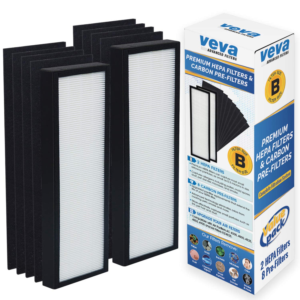 HEPA VEVA 2 HEPA Replacement Filter with 8 Activated Carbon Pre Filters for Germ Guardian AC4300/AC4800/AC4900/AC4825 Series, FLT4825 Filter