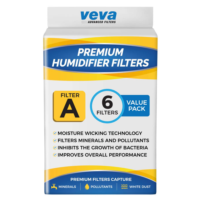 Humidifier Filter VEVA VEVA 6 Pack Premium Humidifier Filters Replacement for Holmes Filter A, HWF62, HWF62S, & Other Sunbeam Cool Mist Humidifiers
