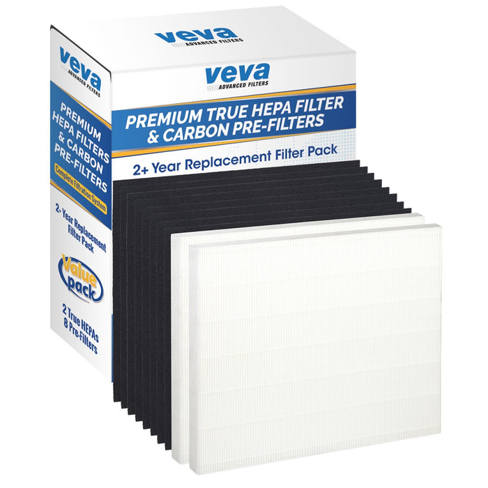 HEPA VEVA Premium True HEPA Replacement Filter 2 Pack Including 8 Carbon Pre Filters compatible with AP-1512HH Coway Air Purifier (2+ Year Value Pack)