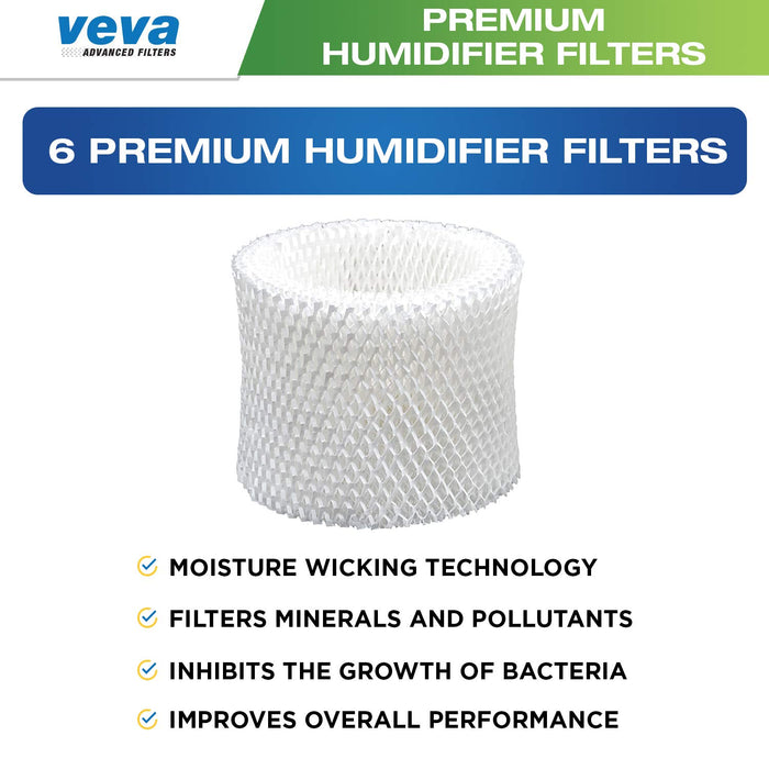 Humidifier Filter VEVA VEVA 6 Pack Premium Humidifier Filters Replacement for Honeywell Filter C, HC-888, HC-888N Cool Moisture Evaporative Humidifiers