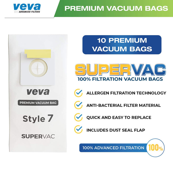 Vacuum Bags VEVA VEVA 30 Pack Premium SuperVac Vacuum Bags Style 7 Paper Bag Compatible with Bissell Uprights Vacuums, Part #32120