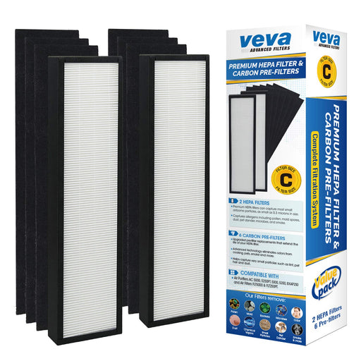 HEPA VEVA VEVA Premium HEPA Replacement Filter 2 Pack Including 6 Carbon Pre Filters for AC5000 Series, Filter C