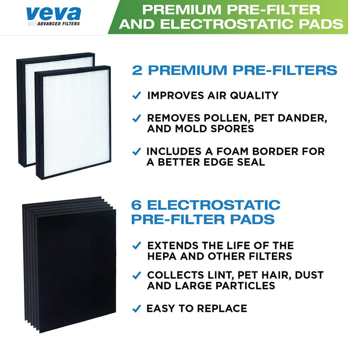 HEPA VEVA 2 HEPA Replacement Filter Pack with 6 Activated Carbon Pre Filters for Blueair 200/300 Series Models 201, 203, 205, 215B, 250E, 270E, 303