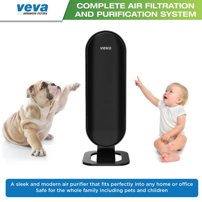 AIR PURIFIER VEVA VEVA 8000 Elite Pro Series Air Purifier True HEPA Filter & 4 Premium Activated Carbon Pre Filters Removes Allergens, Smoke, Dust, Pet Dander & Odor Complete Tower Air Cleaner Home & Office, 325 Sq Ft.