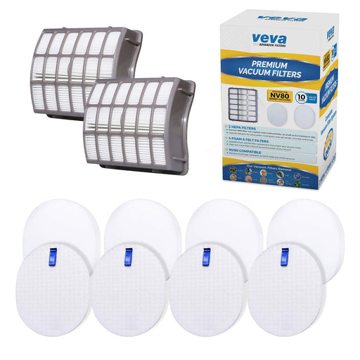 Vacuum Filters VEVA Vacuum Filter Set Including 2 HEPA, 4 Foam, 4 Felt Filters for Shark Navigator Rotator Professional Upright NV70/NV71/NV80/NVC80C/NV90/NV95, UV420