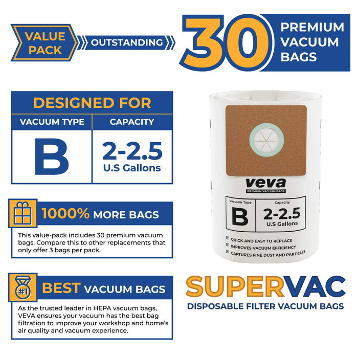 Vacuum Bags VEVA VEVA 30 Pack Premium Vacuum Filter Bags Type B 9066800 Compatible with Shop Vac 2-2.5 Gallon Vacuum, Part # SV 90668