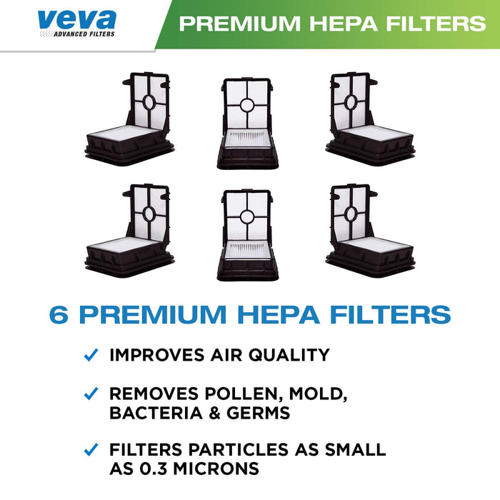 Vacuum Filters VEVA VEVA 6 Pack Premium Vacuum HEPA Filter Set Compatible with Bissell 1866 Cross Wave Series Vacuums and 1785 Multi Surface Cleaner, Part # 1608584