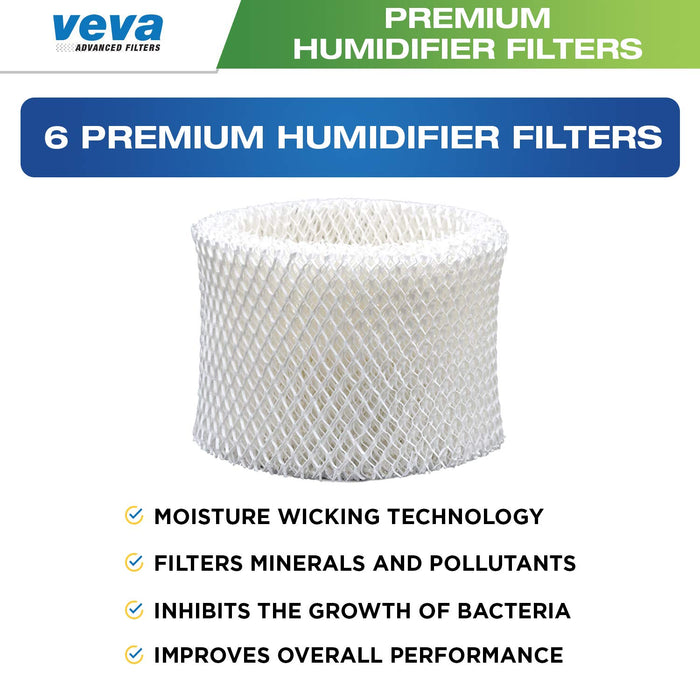 Humidifier Filter VEVA VEVA 6 Pack Premium Humidifier Filters Replacement for Honeywell Filter A, HAC-504, HAC-504AW, HCM 350 & Other Cool Mist Models