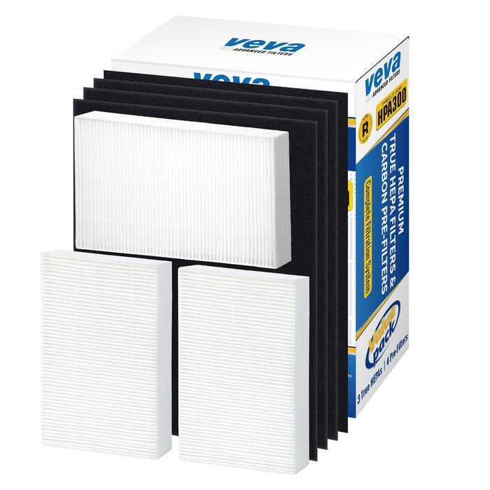 HEPA VEVA Premium True HEPA Replacement Filter 3 Pack Including 4 Precut Activated Carbon Pre-Filters for HPA300 for Honeywell Air Purifier 300 and Filter R