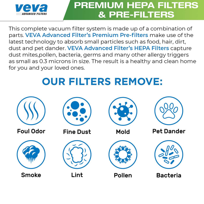 Vacuum Filters VEVA VEVA Complete Premium Vacuum Filter Set with 6 Pieces Total of 3 HEPA Filters, 3 Pre Filters Work With Dyson Upright Vacuums Model DC41 DC65, Part # 92076901 & 92064001