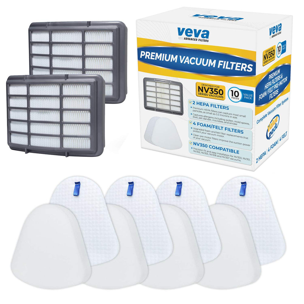 Vacuum Filters VEVA Vacuum Filter Set Including 2 HEPA, 4 Foam, 4 Felt Filters for Shark Navigator Lift Away  NV350/351/352/355/356/357/358/360/370/391, UV440/490/540