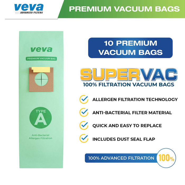 Model 4010001A VEVA 30 Pack Premium SuperVac Vacuum Bags Style A Work with Hoover Type A Upright Vacuum Cleaner