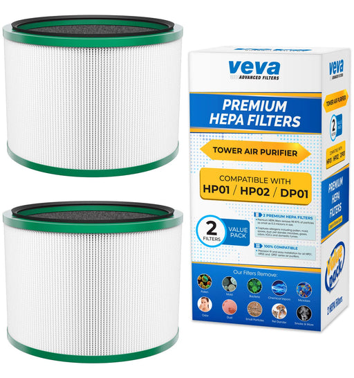 HEPA VEVA VEVA Premium HEPA Replacement Filter 2 Pack Works With All Dyson Pure Cool Link DP01, DP02 and Dyson Pure Hot + Cool Link HP01, HP02, Part #968125-03 #305214-01, #305214-01