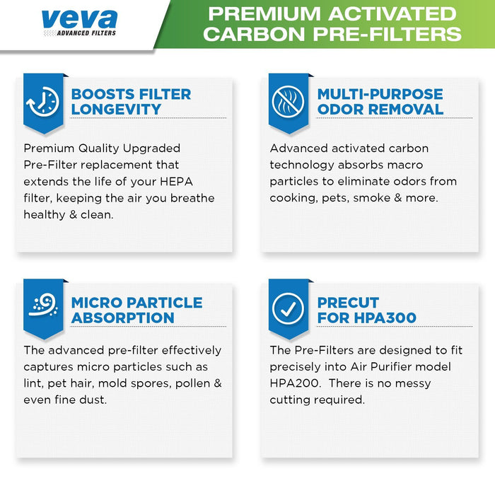 PRE VEVA Precut for HPA200 Premium Carbon Activated Pre Filters 6 Pack compatible with Honeywell Air Purifier 200, 202, 204, 250B