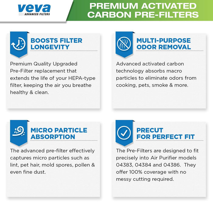 PRE VEVA Premium Activated Carbon Pre Filter 6 Pack for Hamilton Beach TrueAir Air Purifier 04383, 04384, 04386 for Pet, Odor Eliminator, Safe and Zeolite Free