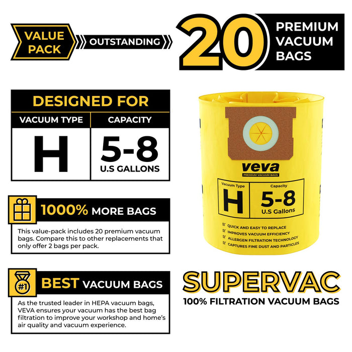 Vacuum Bags VEVA VEVA 20 Pack Premium Vacuum Filter Bags Type H 9067100 Compatible with Shop Vac 5-8 Gallon Vacuum, Part # SV 90671