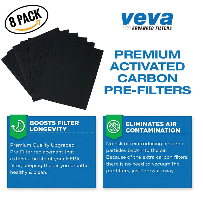 HEPA VEVA Premium HEPA Replacement Filter 2 Pack Including 8 Carbon Pre Filters compatible with AP-1512HH Coway Air Purifier (2+ Year Value Pack)