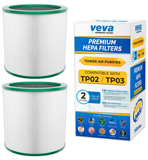 HEPA VEVA VEVA Premium HEPA Replacement Filter 2 Pack Works With All Dyson Pure Cool Link Models TP01, TP02, TP03, BP01, Part #968126-03 #305158-01