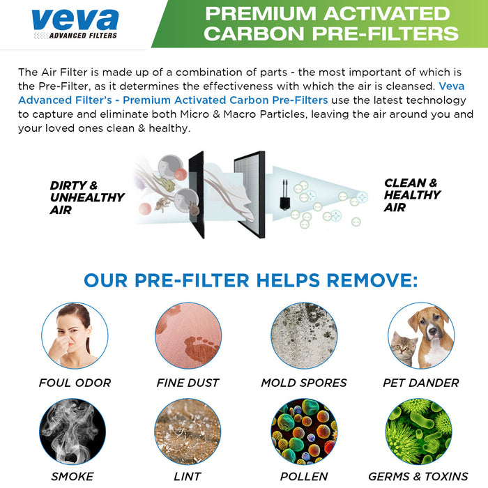 PRE VEVA Premium Carbon Activated Pre Filters for AC4100/4150PCA/4150BCA Germ Guardian Air Purifier, True Hepa Replacement Filter